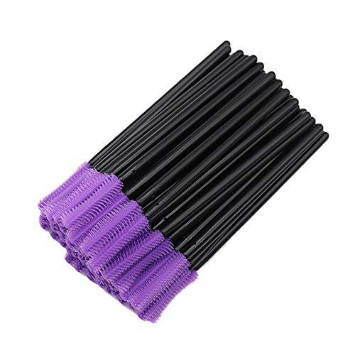 CyFe Lot de 50 baguettes de mascara jetables applicateurs de bâtonnets de cils et appareils de maquillage pour extensions et levage de cils A (Noir + violet)