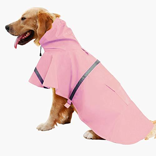 Mikayoo Large Dog Raincoat Ajustable Pet Waterproof Clothes Lightweight Rain...