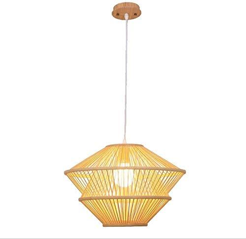 KMILE Lámpara de araña de bambú natural nostálgica de estilo nostálgico de estilo nostálgico Lámpara de té de bambú hecho a mano Lámpara de zen clásico Balcón Mano tejido Pastoral Ratán Colgante Luz E