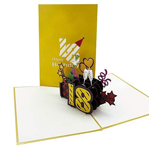 UNICUM Geburtstagskarte 3D Pop-Up 18. Geburtstag | Glückwunschkarte zum achtzehnten Geburtstag | mit Umschlag |Volljährigkeit | Happy Birthday BG131Y