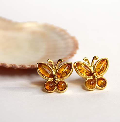MJ Baltica Pendientes artesanales de plata 925 bañada en oro de 14k y ámbar natural Mariposa...