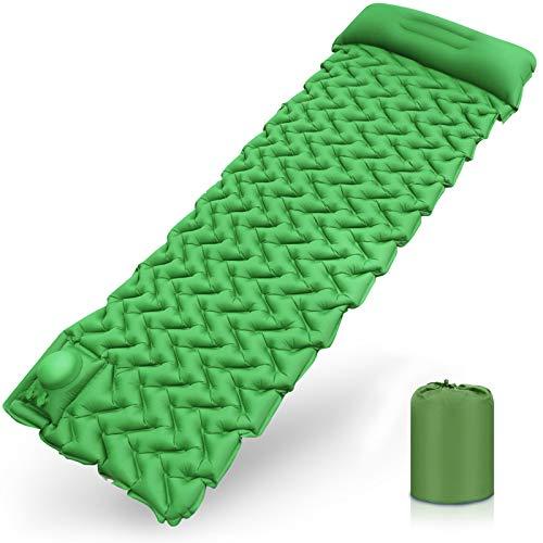 Karvipark Isomatte Camping Selbstaufblasbare, Handpresse Ultraleichte Luftmatratze mit Kopfkissen, Faltbar Leicht Kleines Packmaß, Wasserdicht Schlafmatte für Outdoor, Reise, Wandern(Gelb grün)