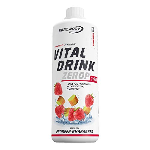Best Body Nutrition Vital Drink ZEROP® - Erdbeer-Rhabarber, zuckerfreies Getränkekonzentrat, 1:80 ergibt 80 Liter Fertiggetränk, 1000 ml