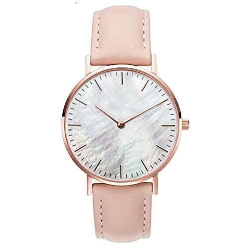 Clastyle Damenuhr Minimalistisch Ultradünne Armbanduhr für Damen Rosa Mode mit Lederarmband