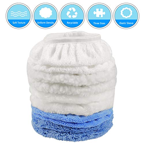 DRibet 10 Packs Car Polisher Pad Bonnet, 5 to 6 Inch Car Polishing Bonnet Buffing Pad (Include Woollen+Cotton+Microfiber+Coral Fleece+Lambs Wool 2 Pcs for Each Waxing Bonnet)
