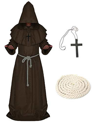 LATH.PIN Cosplay Capa Medieval Vestido Halloween Vestido con Capucha Disfraz de Frate Vestido Carnaval Monaco marrón S