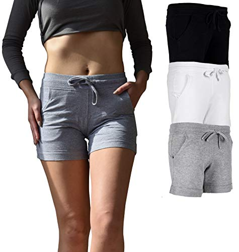 Sexy Basics Women's 3 Pack Active Wear Lounge Yoga Gym Casual Sport Shorts (3 Pack-Black/Grey/White, Small)