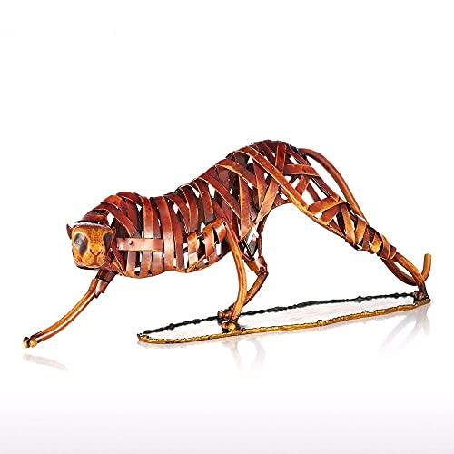 LGR Estatuas Estatuillas Esculturas Tooarts Metal Tejer Tigre Obra de Arte Escultura de Hierro Decoración del hogar Artesanía Escultura de Animales Adornos de Estilo Vintage Habitación Hogar