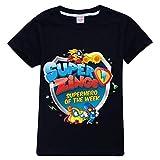 Superzings Camiseta Ropa de Cuello Redondo del Verano de los niños de Manga Corta impresión Camiseta de la Moda niños y niñas (Color : Black01, Size : 90)