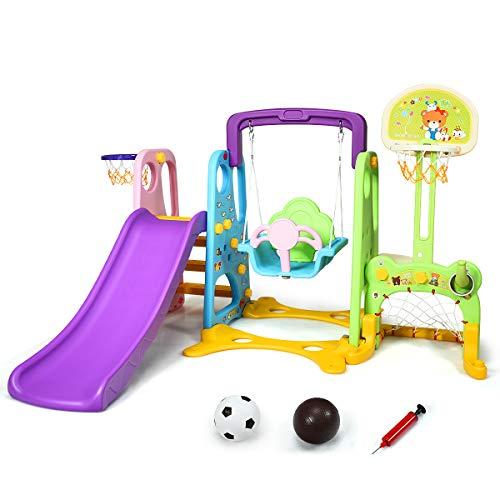 COSTWAY 6 in 1 Kinder Rutsche & Schaukel & Basketballkorb & Fußballtor & Wurfspiel & Schreibtischplatte, Kinder Spielplatz für Outdoor und Indoor, Kinderrutsche für Kinder von 3-8 Jahren