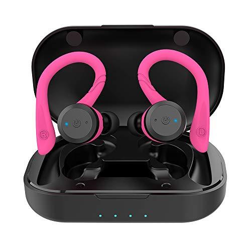 APEKX Wireless Sport Kopfhörer,IPX7 Wasserdicht,Stereo-Sound,Eingebautes Mikrofon Headset mit Magnetischen Tragbaren Ladetasche für IOS,Andriod (Rosa)