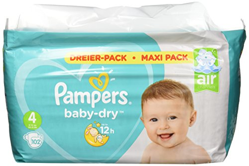 Pampers Baby-Dry Windeln, Gr. 4, 9kg-14kg, Dreier-Pack (1 x 102 Windeln)