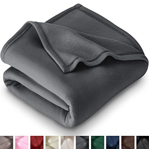 Bare Home Polar Fleece Blanket - Throw Size - Warm Cozy - Hypoallergenic Premium Poly-Fiber Yarns - Thermal - Lightweight Bed Blanket (Throw, Grey)
