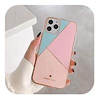 Ljhhg iPhone 12 Mini 11 Pro Max X XR XS MAX SE 2020 78プラス保護ケース用のファッションクラシックスクエアカラフル大理石ソフトシリコン電話ケース-Style 12-For iphone11Pro max