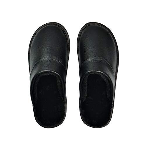 YUTRD ZCJUX Zapatillas de Cuero de Vaca Genuino Pareja Interior Antideslizante Hombres Mujeres hogar Moda Zapatos Casuales PVC Suela Suave Invierno (Color : Black, Size : 43)