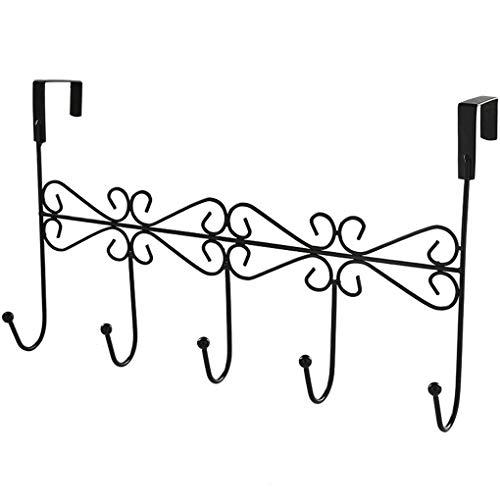 Qinghengyong Über der Tür Aufhänger Rack Über Tür-Aufhänger Rack-Metall-Mantel mit 5 Haken Dekorative Metall-Mantel Hut Halter für Home Office - Schwarz Schwarz