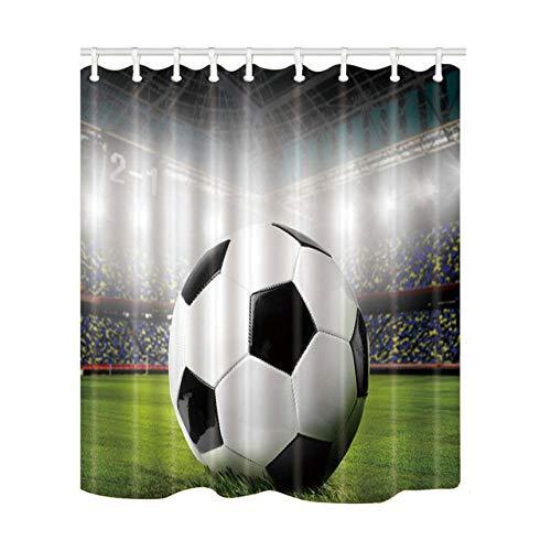 None brand Kreatives Design Duschvorhänge Fußball Bad Display Home Decor Polyester Stoff wasserdicht & schimmelfest mit Kunststoffhaken-B120xH200cm