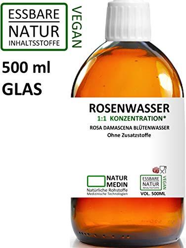 ROSENWASSER 500-ml GLAS Gesichtswasser, 100% naturrein, 1:1 Konzentration, Rosa damascena Blüttenwasser, ohne Zusatzstoffe, braun Glasflasche, nachhaltig