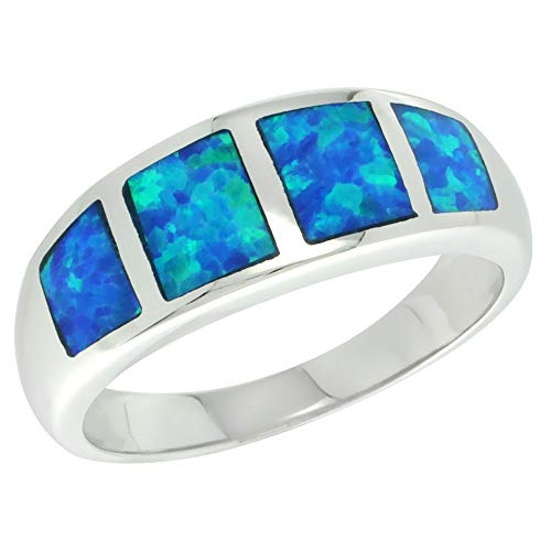 Sterling Silver Blue Synthetic Opal Band Ring for Women Square Inlays Tapered 5/16 inch Size 9