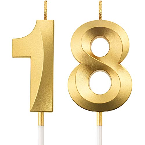 18th Birthday Candles Cake Numeral Candles Happy Birthday Cake Topper Decoration for Birthday Party Wedding Anniversary Celebration Supplies, Gold