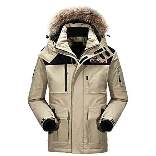 Herren Kapuzenjacke Winter Strickjacke Warme Fell-Kapuze Winter-Jacke Mantel GefüTterter Warmer Anorak - Outdoor Kapuzenjacke Parka Jacke Baumwolle Pilotenjacke Coat