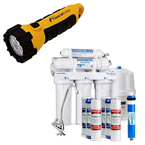 Toucan City LED Flashlight and PureDrop 5 Stage Reverse Osmosis Water Filtration System with Pre-Filter Kit RTW5
