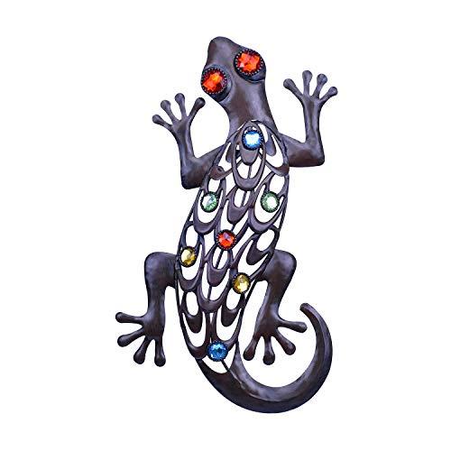 SVEIKS Eidechse, Wanddekoration, Metall, Gecko, zum Aufhängen im Innen- und Außenbereich, für Badezimmer, Bauernhaus, Wohnzimmer, Schlafzimmer oder Garten, Terrasse, Hinterhof, Zaun, 35,6 cm (rostig)