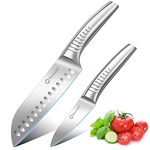 Sunnecko Santoku & Paring Knife Set - Kitchen Knife Set with 7' Santoku Knife & 3.5' Paring Knife, Sharp Chef Knife Multi-functional Asian Knife, German HC Steel Cooking Knife with Ergonomic Handle