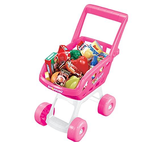 VILLCASE 1 Juego Mini Carrito de Compras Carrito de Supermercado Carrito de Mano Carro de Compras Modo de Juguete 1 Carrito 18 Frutas de Comida para Niños Accesorios de Cocina Realistas