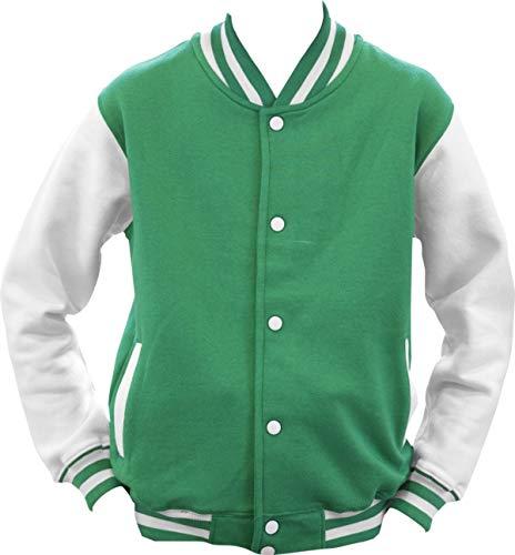 Shirtinstyle College Jacke Jacket Retro Style; Farbe KellyWeiss, Größe XL