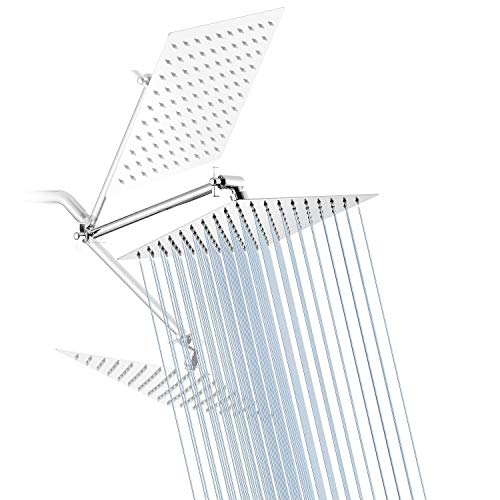 Rain Shower Head YBlucklly 8 Inches Square Rain Showerhead with 11 Inches Adjustable Extension Arm 304 Stainless Steel Ultra Thin High Pressure Chrome Bathroom Rainfall Shower Head Luxury Modern Look