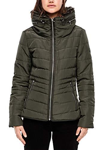 Q/S designed by - s.Oliver Damen Taillierte Steppjacke mit Fake Fur Olive L