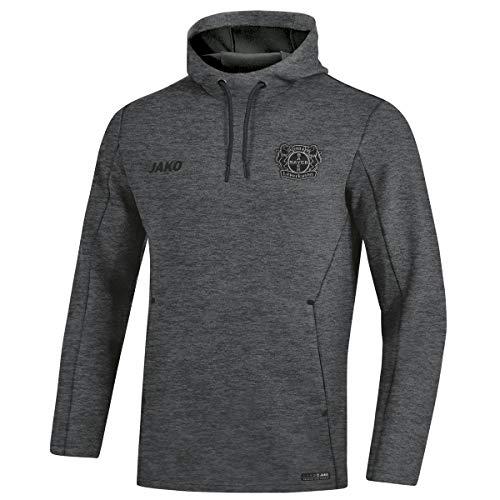 JAKO Herren Premium Basics, (Saison 19/20) Bayer 04 Leverkusen Kapuzensweat, anthrazit meliert, XXL