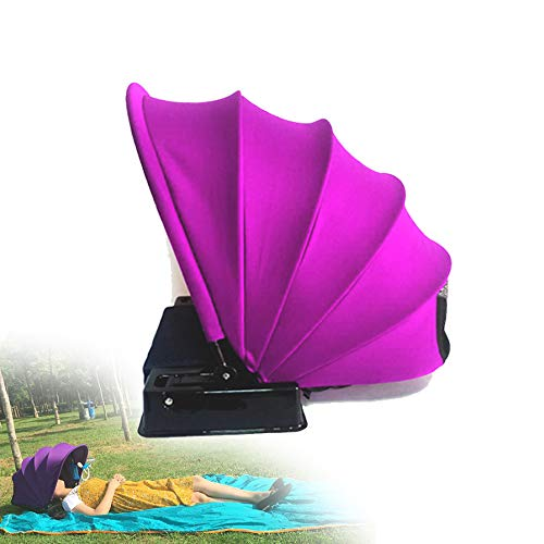 TBDLG Terrassenschirm Mit Kopfkissen,Regenschirm Sonnenschutz UV Schutz Klappbare Outdoor Camping Garten(Lila)