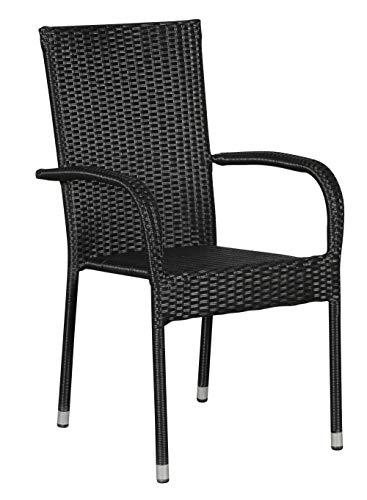 PKline Polyrattan Tanz Gartenstuhl stapelbar schwarz Garten Stühle Hochlehner Armlehne