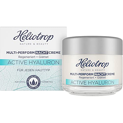 Heliotrop Active Hyaluron Multi-Perform Nachtcreme, Anti-Aging Gesichtscreme, Mit Hyaluron, Algenextrakt und Bio-Ölen, Vegan, Naturkosmetik, 50 ml