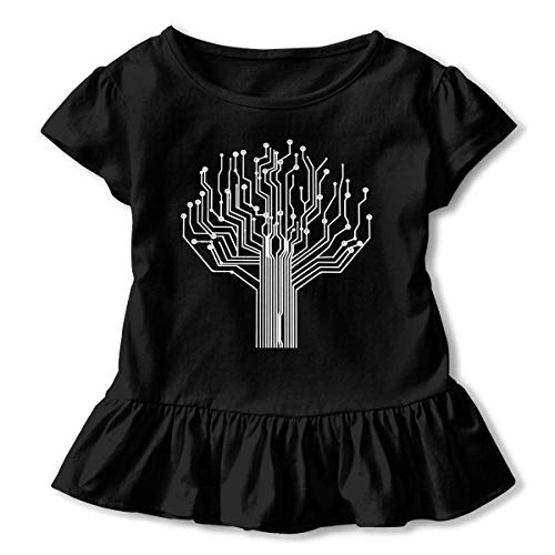 Girls Short Sleeve Silhouette Circuit Board Tree-1 Casual Tunic Shirt Dress with Flounces