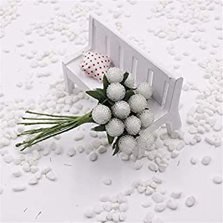 ShineBear 12PCS/lot Artificial Christmas Red Strawberry Stamen Berries/DIY Wreath of Flowers/Candy Accessories The Simulation Cherry Fruit - (Color: White)