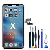 Hoonyer Écran Tactile LCD pour iPhone X Noir, LCD Écran Tactile Digitizer Assembly avec Kit De Réparation Complet + Protecteur D'écran + Adhésif Étanche