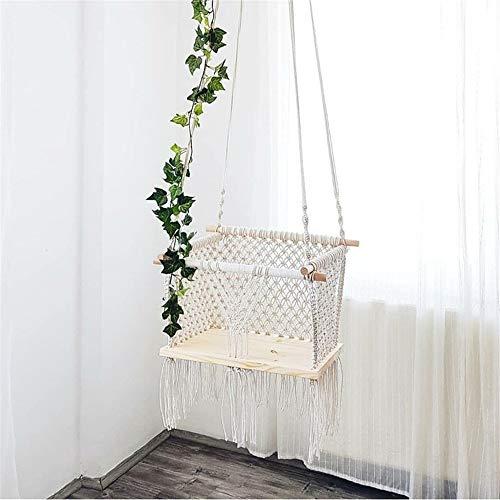 MOLINGXUAN Schaukelsitze für Kinder, Kinderhängesessel handgemachter gesponnener hängenden Korb Kinderzimmer Dekorative Sitzkorb Schaukelstuhl Schaukel