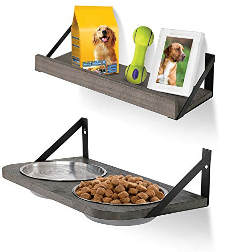 Emfogo Dog Bowls Customized Height Wall Mounted Elevated Pet Feeder with 2 Stainless Steel Dog or Cat Dishes and Storage Shelf Rustic Wood Raised Pet Bowls 15.9 in L
