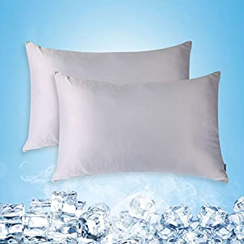 Cooling Pillow Cases Standard Size Set of 2 with Double Sided Cold Moisture Wicking Pillowcase Covers with Hidden Zipper Japanese Cold Tech Pillow Case Protectors for Hot Sleepers and Night Sweats