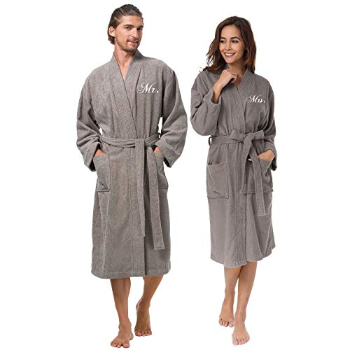 AW BRIDAL Cotton Robes for Couple Grey Embroidery Terry Bathrobes Unisex Mr and Mrs Hotel Robes Warm Long Lightgown