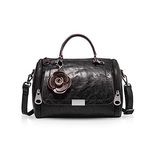 NICOLE & DORIS Damen handtaschen Leder Damen Schultertasche Henkeltasche Umhängetaschen für Damen Top Griff Taschen Schwarz