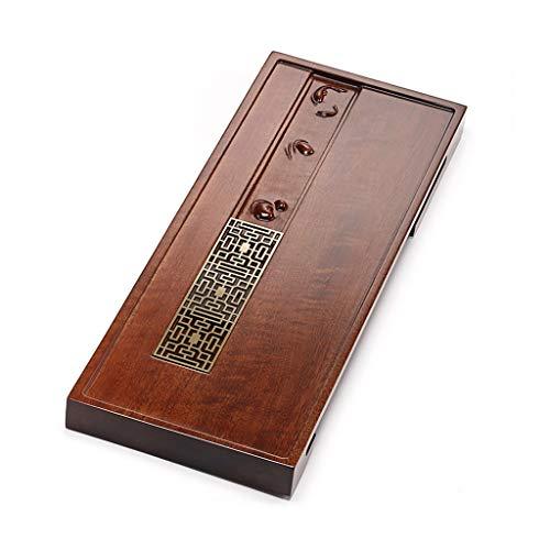 Services à thé et à café Plateau à thé plaque de cuivre thé en bois de mer de mer rectangulaire plateau à thé en bois massif ensemble de thé Kung Fu (Color : Brown, Size : 78 * 28 * 5cm)