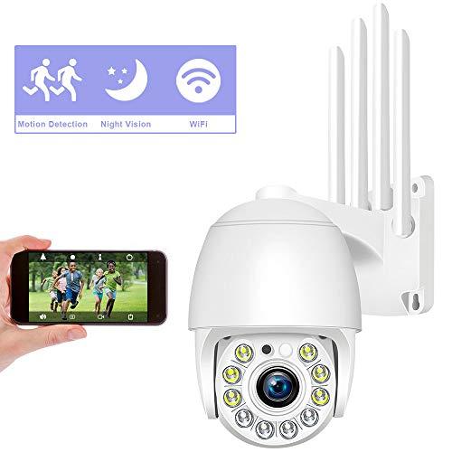 Cámara Domo Exterior WiFi Impermeable, Aottom 1080P Cámara IP inalámbrica 360° WiFi con Detector de Movimiento Alarma, Audio de Dos Vías, Visión Nocturna para App CamHi, Soporta Tarjeta SD MAX 128G