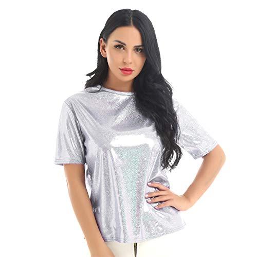 CHICTRY Damen T-Shirt Metallic Tops Bluse Kurzarmshirt Glänzende Oberteile Crop Top Hemd Party Kleidung Clubwear Silber Einheitsgröße
