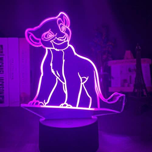 Lampe de nuit Illusion 3D 7 couleurs Simba Lion King adapté pour chambre enfants anniversaire cadeau de Saint Valentin - Base noire + télécommande_Simba debout sur la falaise