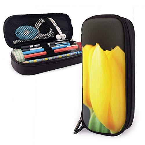 Astuccio portamatite in pelle PU di fiori di tulipani gialli, borsa porta penne di grande capacità, durevoli organizer per cancelleria per studenti