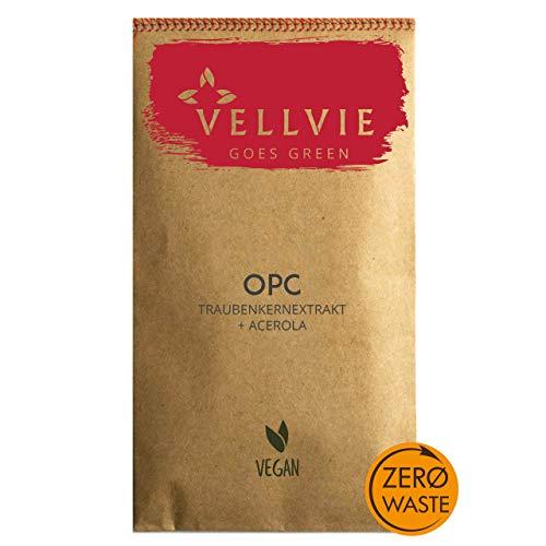 OPC + Acerola Vitamin C Zero Waste von VELLVIE Plastikfrei Traubenkernextrakt + Natürliches Vitamin C aus Acerola inkl eBook   NACHFÜLLPACK